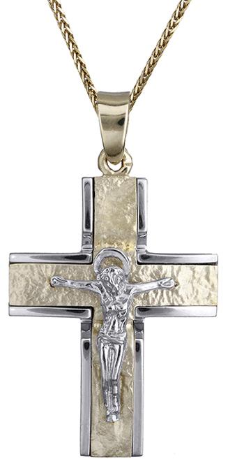 Βαπτιστικοί Σταυροί με Αλυσίδα Ανδρικός δίχρωμος σταυρός Κ14 C001982 001982C Ανδρικό Χρυσός 14 Καράτια