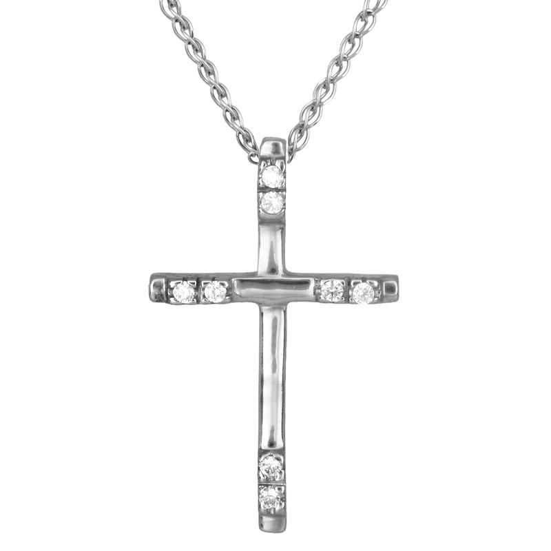 Λευκόχρυσος σταυρός γυναικείος 14Κ 001998C 001998C Χρυσός 14 Καράτια χρυσά κοσμήματα σταυροί