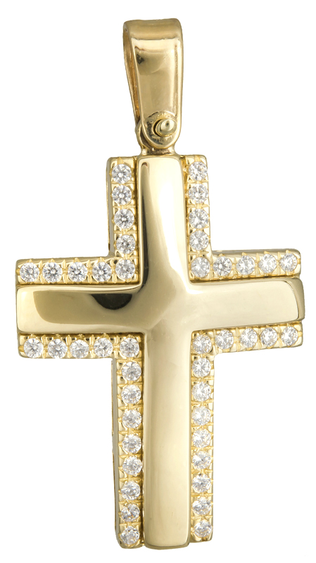 Σταυροί Βάπτισης - Αρραβώνα Γυναικείος χρυσός σταυρός με ζιργκόν Κ14 020138 020138 Γυναικείο Χρυσός 14 Καράτια