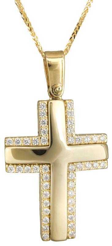 Βαπτιστικοί Σταυροί με Αλυσίδα Σταυρός για κορίτσι με πέτρες Κ14 C020138 020138C Γυναικείο Χρυσός 14 Καράτια