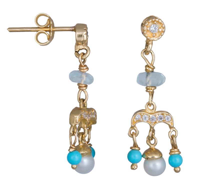 Χρυσά κρεμαστά σκουλαρίκια Κ14 002050 002050 Χρυσός 14 Καράτια ... e63a4189707