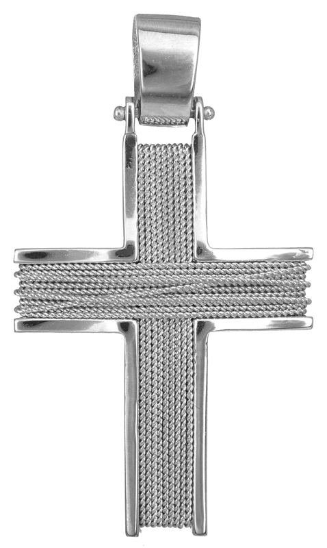 Σταυροί Βάπτισης - Αρραβώνα Λευκόχρυσος σταυρός Κ18 013043 013043 Ανδρικό Χρυσός 18 Καράτια