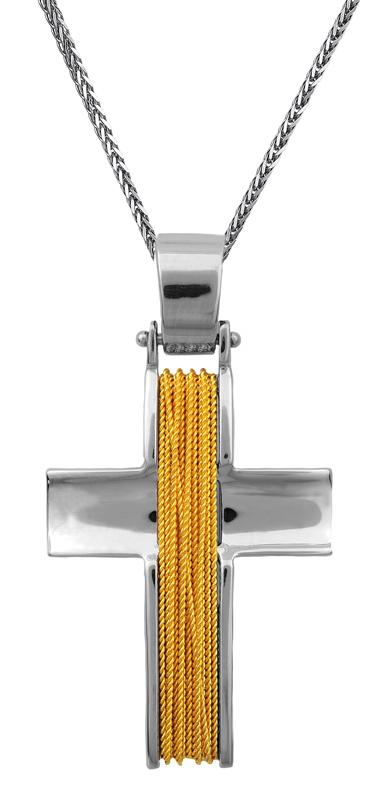 Βαπτιστικοί Σταυροί με Αλυσίδα Δίχρωμος σταυρός 14Κ C002065 002065C Ανδρικό Χρυσός 14 Καράτια