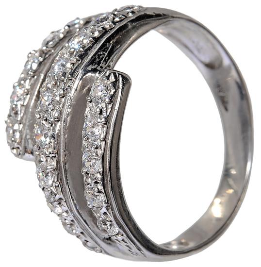 Λευκόχρυσο δαχτυλίδι Κ14 με ζιργκόν πέτρες 002099 Χρυσός 14 Καράτια