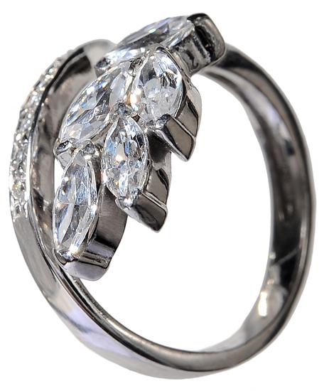 Λευκόχρυσο δαχτυλίδι 14Κ με ζιργκόν πέτρες 002102 002102 Χρυσός 14 Καράτια