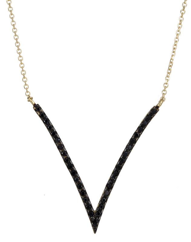 Γυναικείο κολιέ V με μαύρες πέτρες ζιργκόν 14K 021076 021076 Χρυσός 14 Καράτια