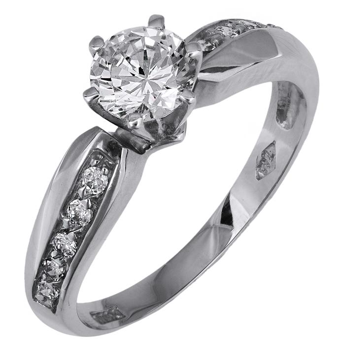 Λευκόχρυσο Μονόπετρο Δαχτυλίδι 9Κ 013148 013148 Χρυσός 9 Καράτια χρυσά κοσμήματα δαχτυλίδια μονόπετρα