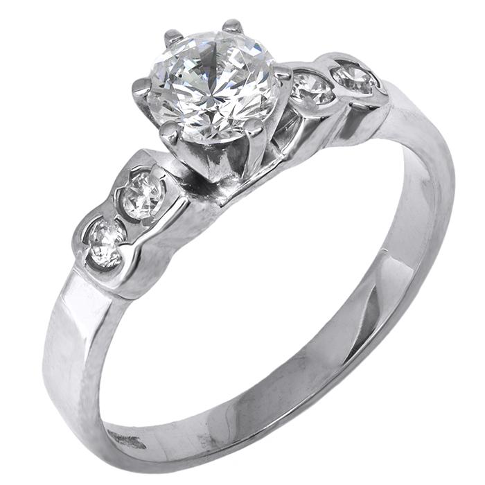 Μονόπετρο δαχτυλίδι λευκόχρυσο 14Κ 002112 002112 Χρυσός 14 Καράτια