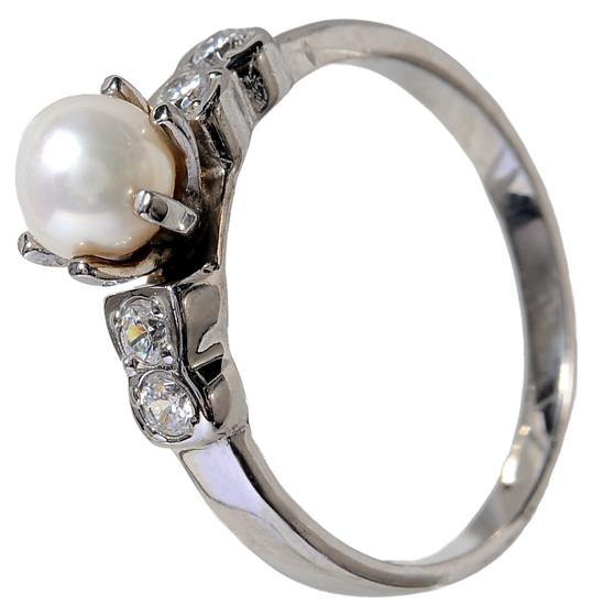 Λευκόχρυσο δαχτυλίδι Κ14 με μαργαριτάρι 002113 Χρυσός 14 Καράτια