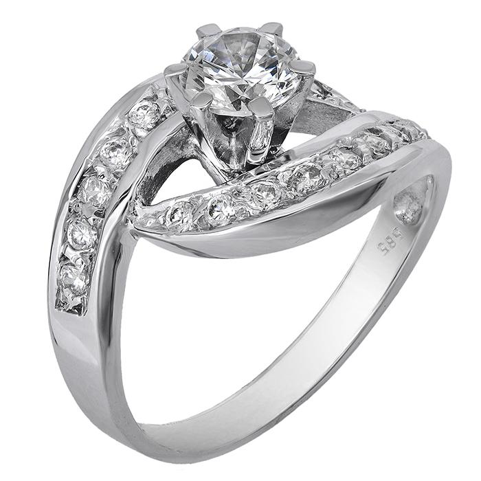 Λευκόχρυσο δαχτυλίδι Κ14 002114 002114 Χρυσός 14 Καράτια