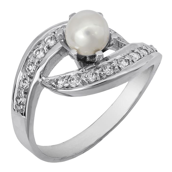 Δαχτυλίδι λευκόχρυσο 14Κ 002115 002115 Χρυσός 14 Καράτια χρυσά κοσμήματα δαχτυλίδια με μαργαριτάρια και διάφορες πέτρες