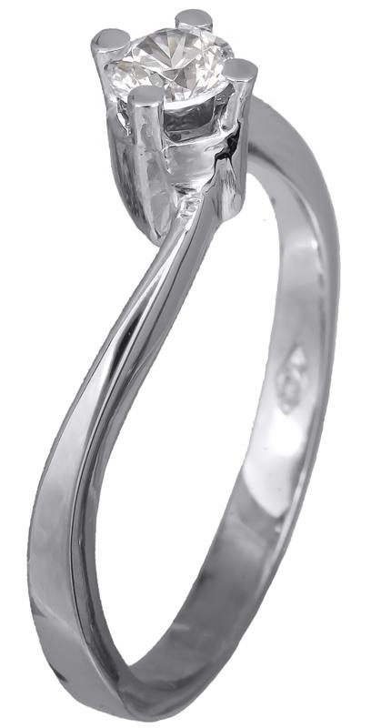 Μονόπετρο λευκόχρυσο δαχτυλίδι 14 K 002124 002124 Χρυσός 14 Καράτια