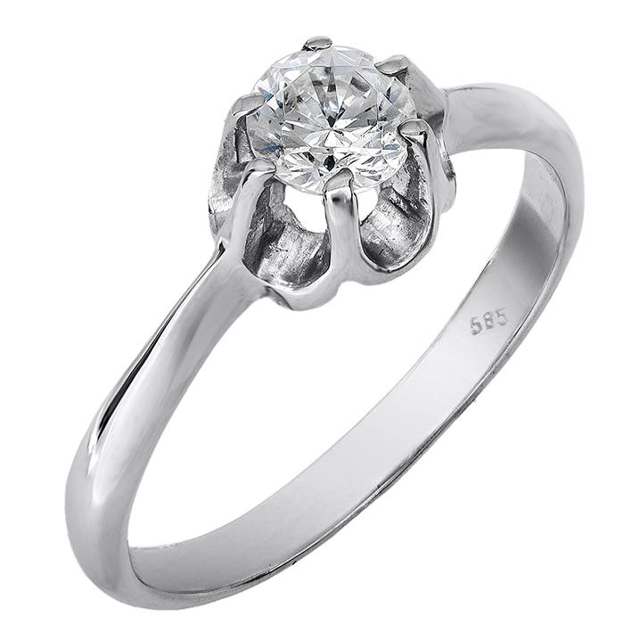 Μονόπετρο δαχτυλίδι λευκόχρυσο Κ14 002126 002126 Χρυσός 14 Καράτια