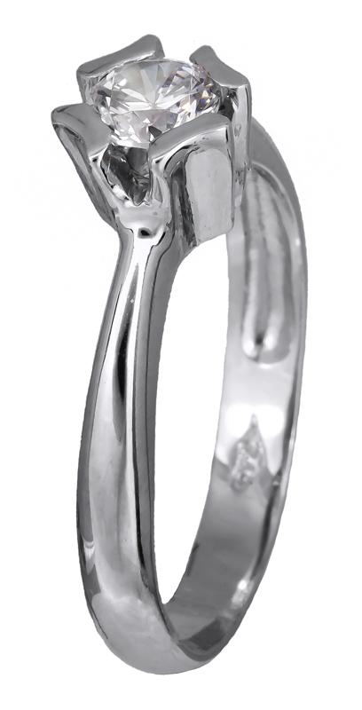 Λευκόχρυσο μονόπετρο δαχτυλίδι K14 002128 002128 Χρυσός 14 Καράτια