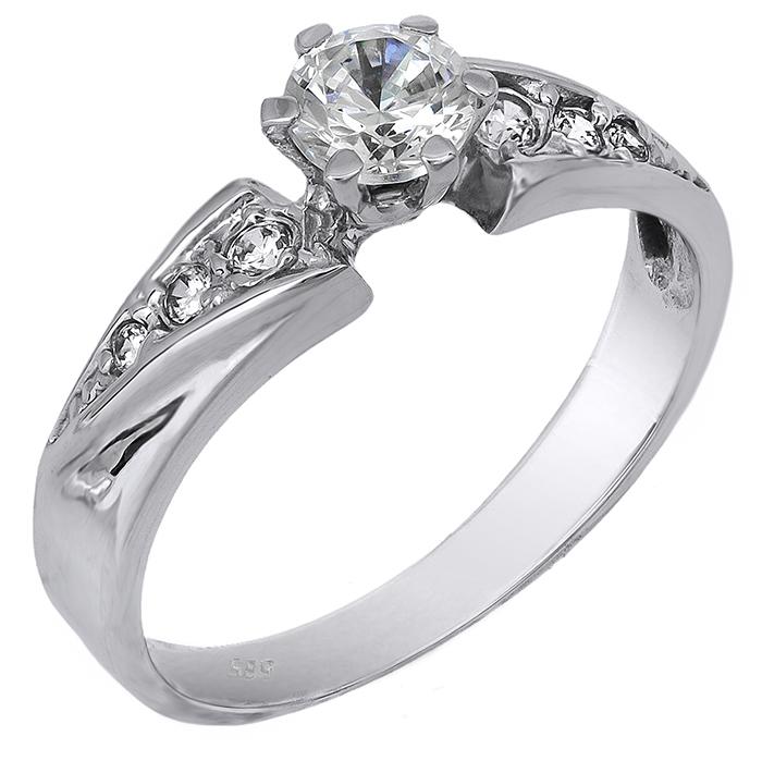 Μονόπετρο λευκόχρυσο δαχτυλίδι 14Κ 002130 002130 Χρυσός 14 Καράτια