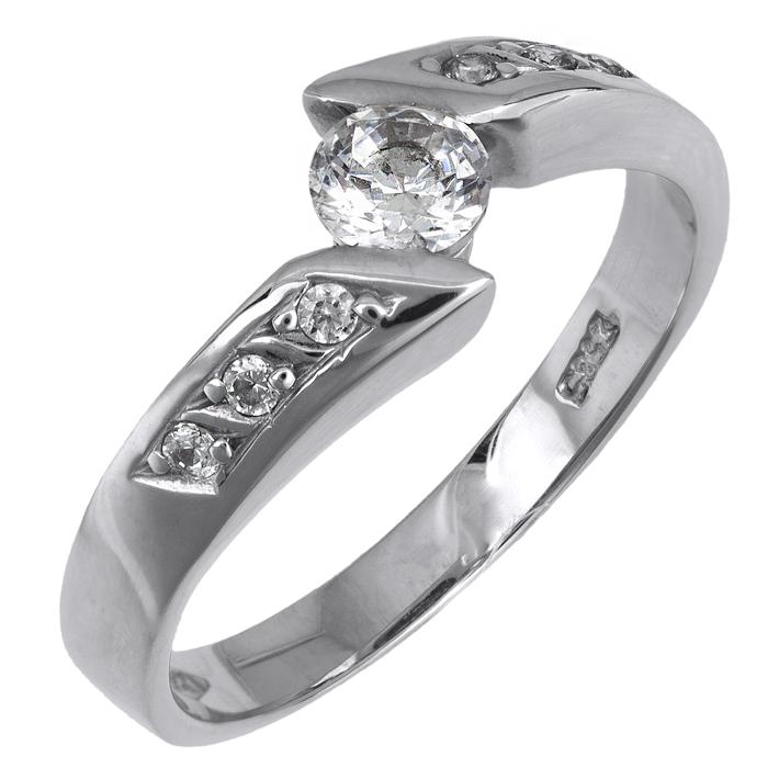 Λευκόχρυσο δαχτυλίδι 14Κ με ζιργκόν 002131 002131 Χρυσός 14 Καράτια χρυσά κοσμήματα δαχτυλίδια μονόπετρα