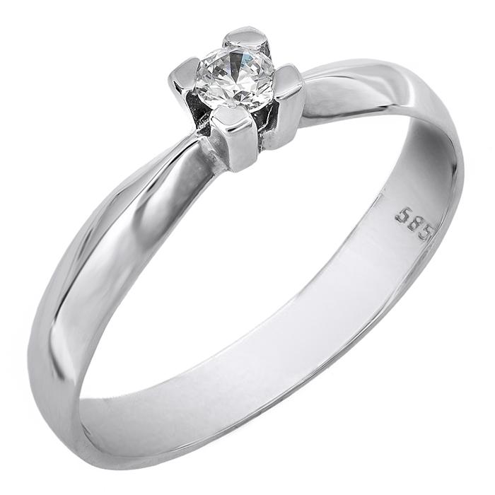 Λευκόχρυσο μονόπετρο δαχτυλίδι 14 καράτια 002134 002134 Χρυσός 14 Καράτια