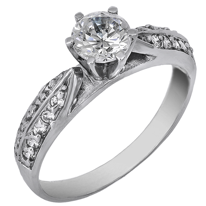 Μονόπετρο λευκόχρυσο δαχτυλίδι 14 καράτια 002138 002138 Χρυσός 14 Καράτια