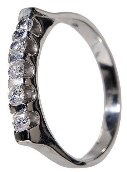 Λευκόχρυσο σειρέ δαχτυλίδι K14 002140 Χρυσός 14 Καράτια