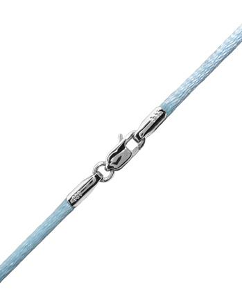 Γαλάζιο κορδόνι με λευκόχρυσο κούμπωμα 14Κ 002169 002169 Χρυσός 14 Καράτια