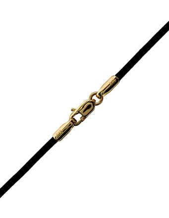 Μαύρο δερματάκι με κούμπωμα χρυσό K 14 002174 002174 Χρυσός 14 Καράτια
