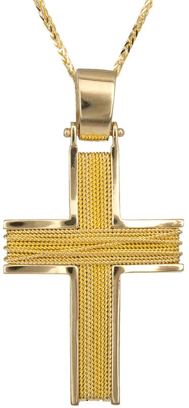 Βαπτιστικοί Σταυροί με Αλυσίδα Χρυσός ανδρικός σταυρός 14Κ C002194 002194C Ανδρικό Χρυσός 14 Καράτια
