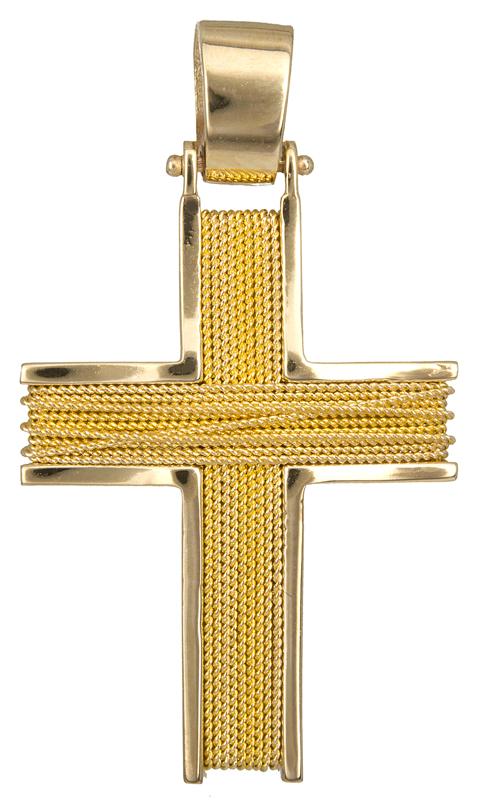 Σταυροί Βάπτισης - Αρραβώνα Χειροποίητος χρυσός σταυρός 18Κ 013042 013042 Ανδρικό Χρυσός 18 Καράτια