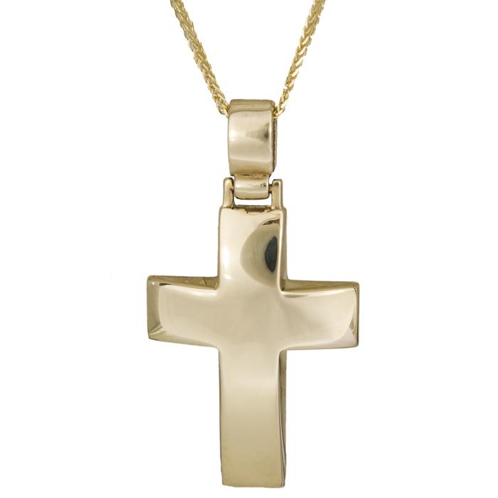 Βαπτιστικοί Σταυροί με Αλυσίδα Χρυσός σταυρός C002196 002196C Ανδρικό Χρυσός 14 Καράτια
