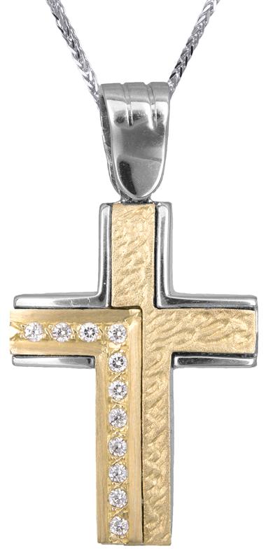 Βαπτιστικοί Σταυροί με Αλυσίδα Γυναικείος σταυρός διπλής όψης Κ14 C002226 002226C Γυναικείο Χρυσός 14 Καράτια