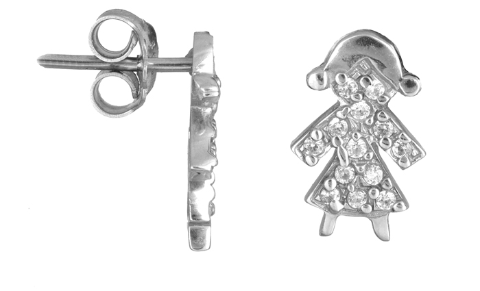 Σκουλαρίκια λευκόχρυσα 14Κ 002241 Χρυσός 14 Καράτια