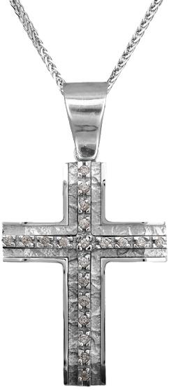 Βαπτιστικοί Σταυροί με Αλυσίδα Λευκόχρυσος σταυρός γυναικείος Κ14 C002248 002248C Γυναικείο Χρυσός 14 Καράτια