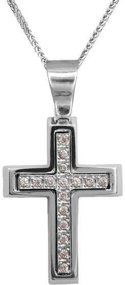 Βαπτιστικοί Σταυροί με Αλυσίδα Γυναικείος σταυρός λευκόχρυσος Κ14 C002250 002250C Γυναικείο Χρυσός 14 Καράτια