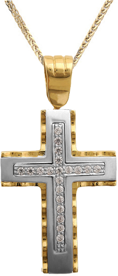 Βαπτιστικοί Σταυροί με Αλυσίδα Γυναικείος σταυρός C002253 002253C Γυναικείο Χρυσός 14 Καράτια