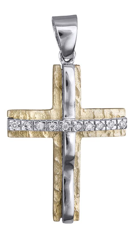 Σταυροί Βάπτισης - Αρραβώνα Δίχρωμος σταυρός 14 Καράτια 002260 Γυναικείο Χρυσός 14 Καράτια