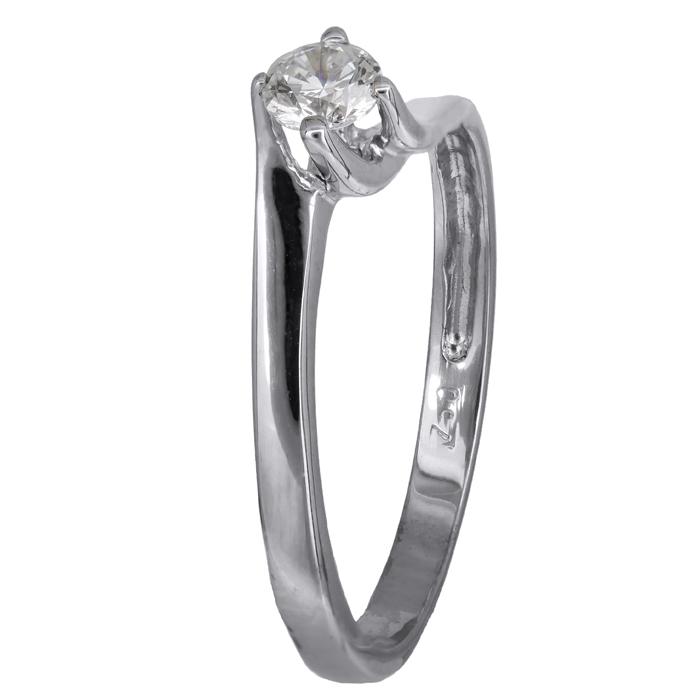 Δαχτυλίδι μονόπετρο λευκόχρυσο Κ 18 002269 Χρυσός 18 Καράτια
