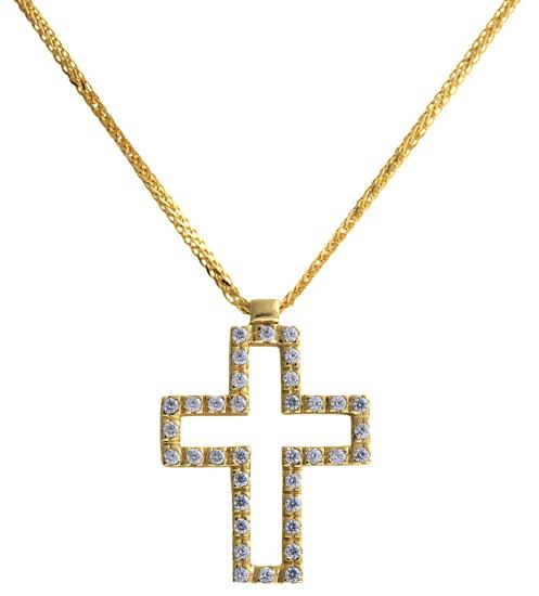 Βαπτιστικοί Σταυροί με Αλυσίδα Χρυσός σταυρός 14 καράτια 002281 Γυναικείο Χρυσός 14 Καράτια