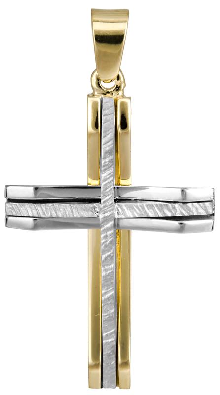 Σταυροί Βάπτισης - Αρραβώνα Δίχρωμος αντρικός σταυρός Κ14 022874 022874 Ανδρικό Χρυσός 14 Καράτια