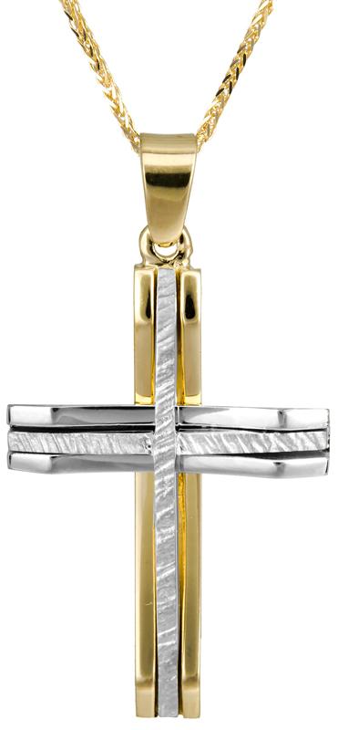 Βαπτιστικοί Σταυροί με Αλυσίδα Δίχρωμος ανδρικός σταυρός Κ14 C022874 022874C Ανδρικό Χρυσός 14 Καράτια