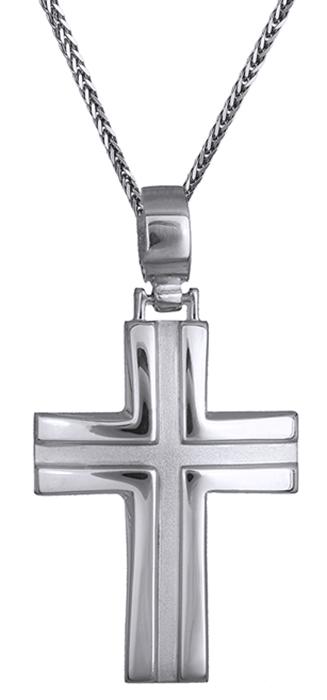 Βαπτιστικοί Σταυροί με Αλυσίδα Ανδρικός σταυρός λευκόχρυσος 14Κ C002316 002316C Ανδρικό Χρυσός 14 Καράτια
