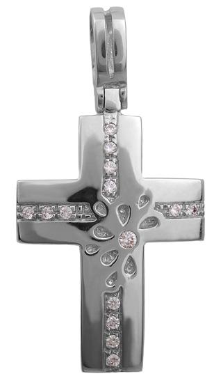Σταυροί Βάπτισης - Αρραβώνα Λευκόχρυσος σταυρός 14 καράτια 002323 002323 Γυναικείο Χρυσός 14 Καράτια
