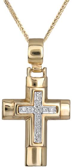 Βαπτιστικοί Σταυροί με Αλυσίδα Γυναικείος σταυρός Κ9 C012500 012500C Γυναικείο Χρυσός 9 Καράτια