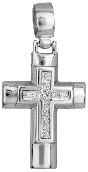 Σταυροί Βάπτισης - Αρραβώνα Λευκόχρυσος σταυρός 14Κ 002331 002331 Γυναικείο Χρυσός 14 Καράτια