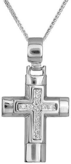 Βαπτιστικοί Σταυροί με Αλυσίδα Λευκόχρυσος σταυρός C002331 002331C Γυναικείο Χρυσός 14 Καράτια