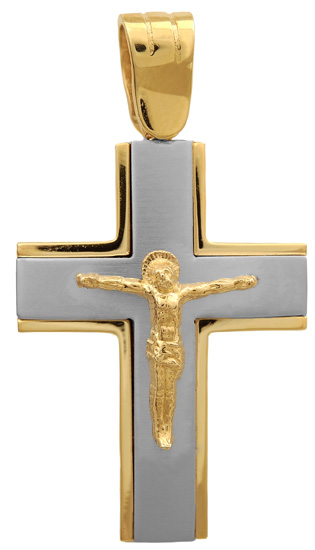 Σταυροί Βάπτισης - Αρραβώνα Δίχρωμος σταυρός 9 καράτια 012587 012587 Ανδρικό Χρυσός 9 Καράτια