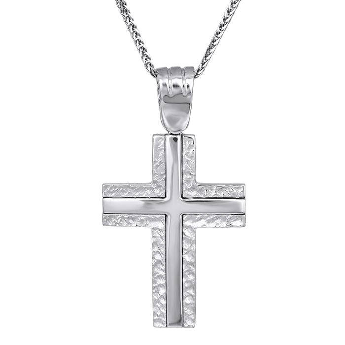 Βαπτιστικοί Σταυροί με Αλυσίδα Αντρικοί σταυροί λευκόχρυσοι C002337 002337C Ανδρικό Χρυσός 14 Καράτια