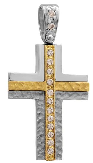 Σταυροί Βάπτισης - Αρραβώνα Δίχρωμος σταυρός 9Κ 012671 Γυναικείο Χρυσός 9 Καράτια