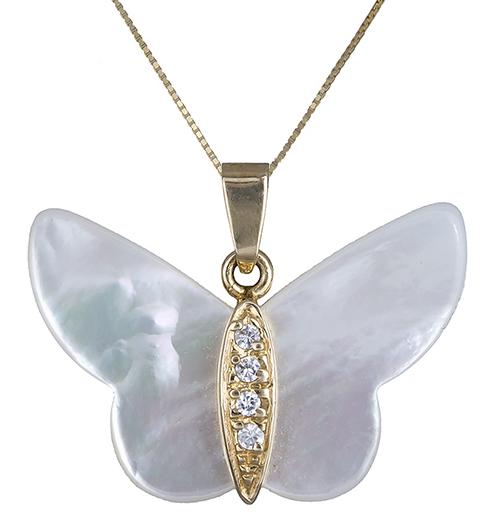 Γυναικείο κολιέ με πεταλούδα Κ14 002382 002382 Χρυσός 14 Καράτια