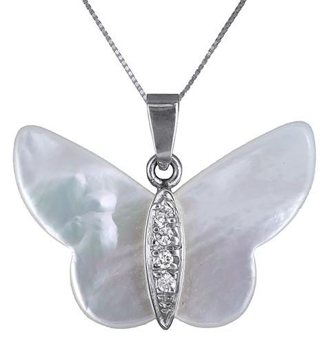 Λευκόχρυσο κολιέ με φίλντισι πεταλούδα Κ14 002383 002383 Χρυσός 14 Καράτια