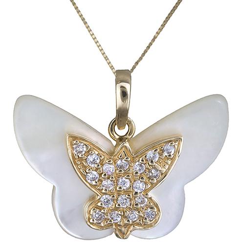 Χρυσό κολιέ με πεταλούδα Κ14 002384 002384 Χρυσός 14 Καράτια