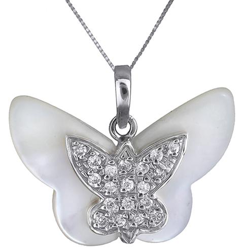 Λευκόχρυσο κολιέ με πεταλούδα 14K 002385 002385 Χρυσός 14 Καράτια